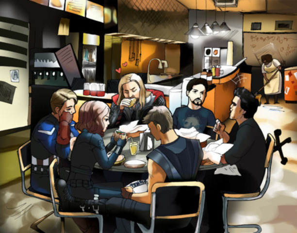 The Avengers rest and finally eat at Shawarma in the end.