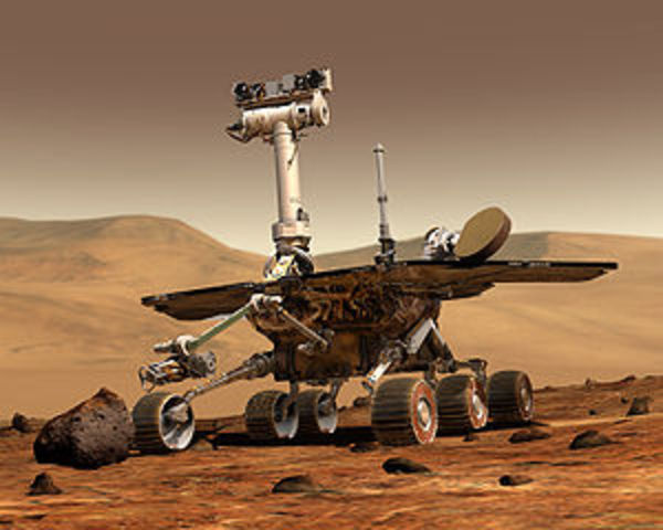 The Mars Rover lands on Mars Safely