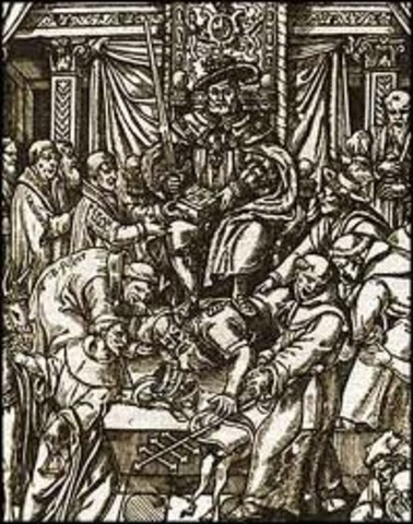 With the Supremacy Act, Henry VIII proclaims himself Head of Church of Engand