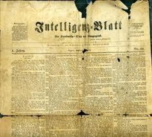 Early newpapers are published in germany