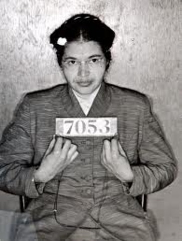 Rosa Parks arrested for refusing to give up her seat on a public bus