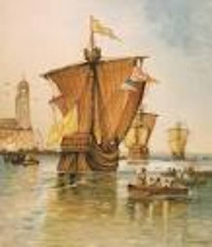 Christopher Columbus sets sail from Spain