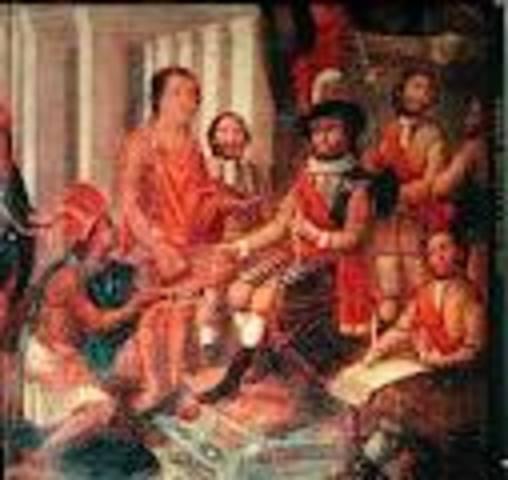 Hernando Cortes marches into the Aztec capital, Tenochtitlan