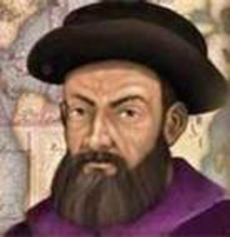 Ferdinand Magellan leaves Spain (with 250 crew members and 5 ships) to sail around the world