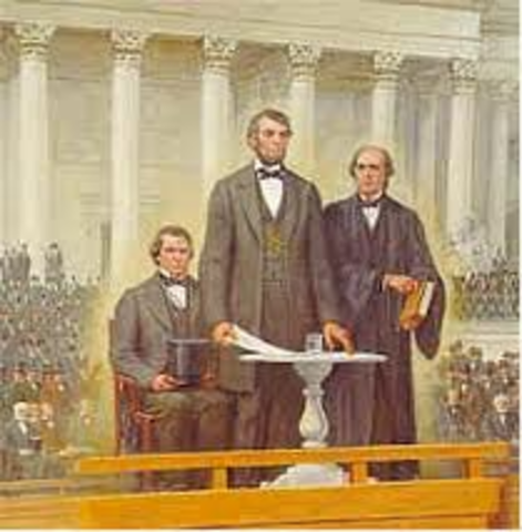 President Abraham Lincoln is re-elected