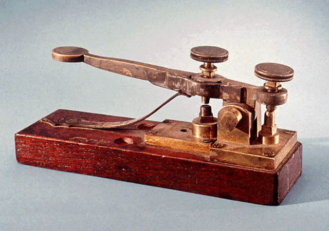 """Samuel Morse invents a telegraph that can send short and long beeps ,called """"dots"""" and """"dashes"""""""