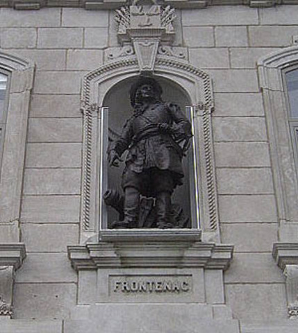 Count Frontenac arrives in Quebec as Governor of New France