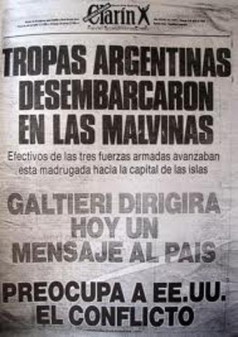 llegada de tropas argentinas a las Islas Malvinas