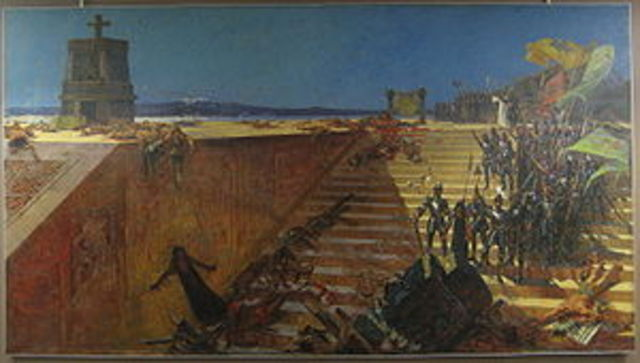 Cortes defeats the Aztec nation