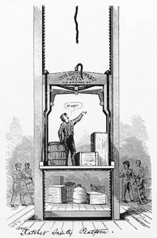 Elisha Otis Installs First Safety Elevator