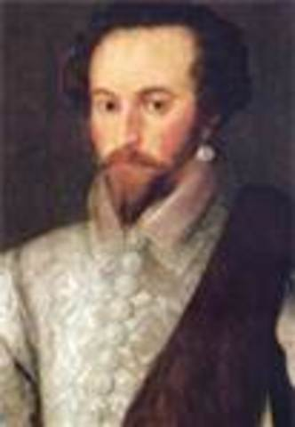 Sir Walter Raleigh sets sail for North America and attempts to colonize Roanoke Island