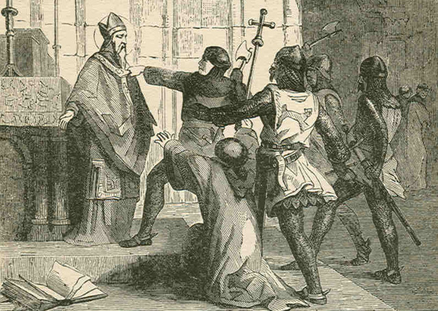 Thomas a Becket is murdered in Canterbury Cathedral