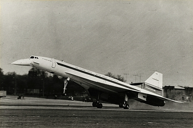 First flight of the first British Concorde, 002