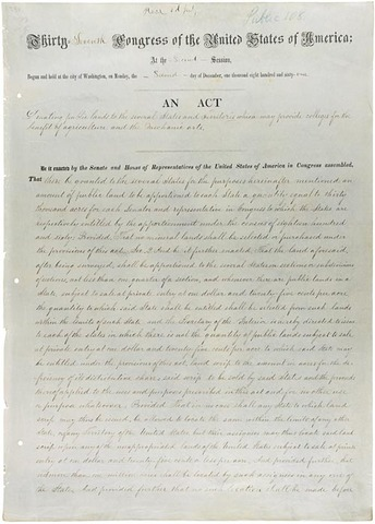 First Morrill Act Passed