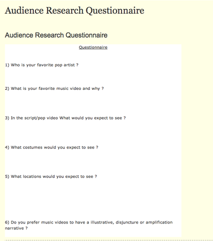 Audience Research Questions