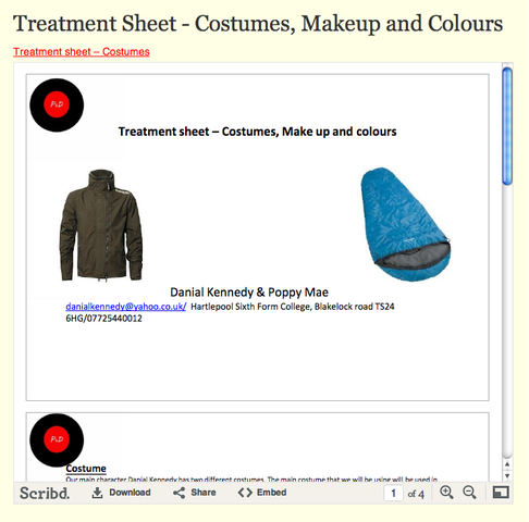 Treatment Sheet - Costumes, Makeup and Colours