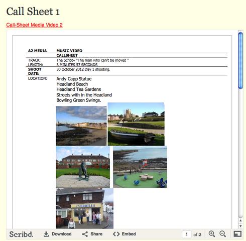 Call Sheet 1
