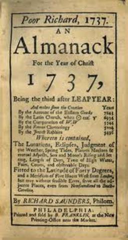 Benjamin Franklin publishes the Almanac