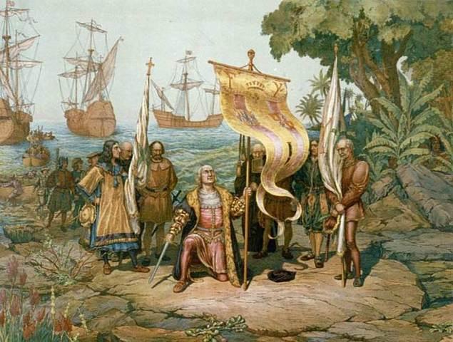 Christopher Columbus reaches his destination