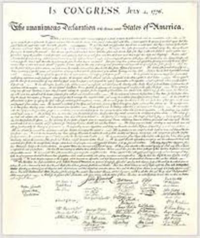 Thomas Jefferson writes the Decleraton of Independance.