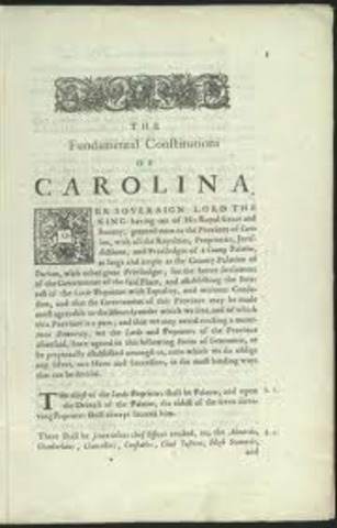 Locke writes the Fundamental Constitution of Carolina.