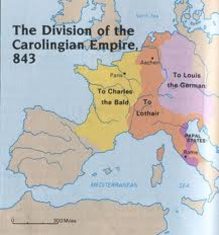 The Treaty of Verdun divides the Carolingian Empire