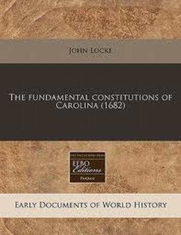 Locke writes the Fundamental Constitution of Carolina