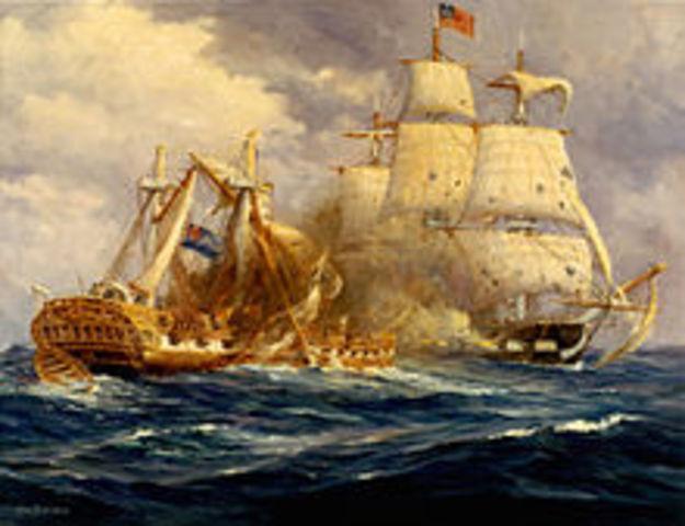 USS Constitution defeats HMS Guerriere