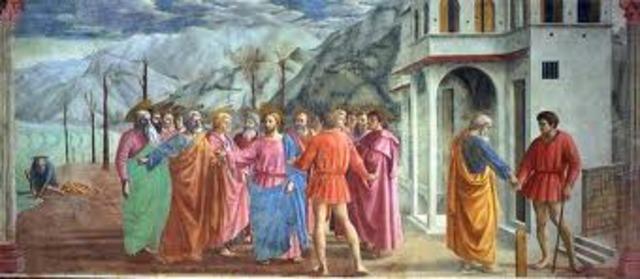 Masaccio, Tribute Money, Brancaccio Chapel, Sta. Maria del Carmine