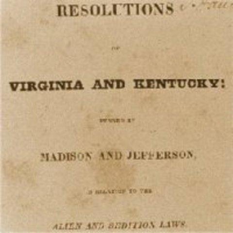 Virginia & Kentucky Resolutions written