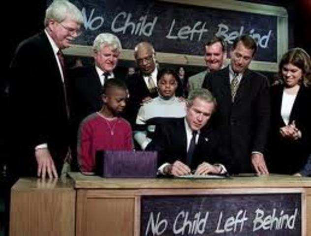 Bush Signs the No Child Left Behind Bill into Law