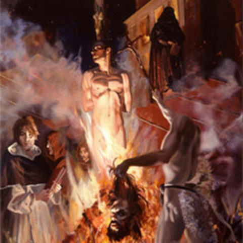 Giordano Bruno burnt at the stake