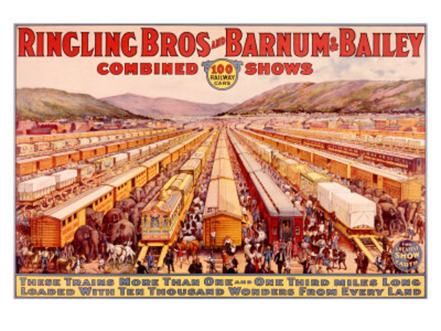 De beroemde trein van Barnum rijdt voor het eerst