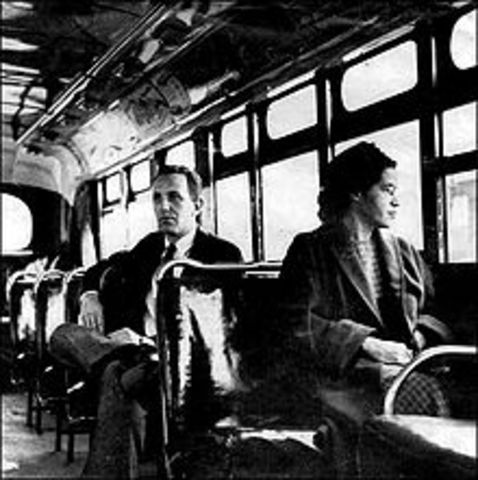 Rosa Parks refusing to give her seat on the bus