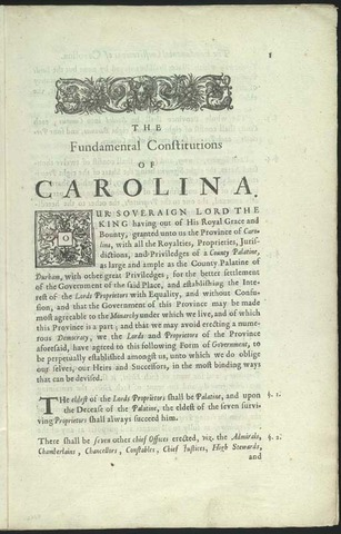 Locke is asked to write the Fundamental Constitution of Carolina