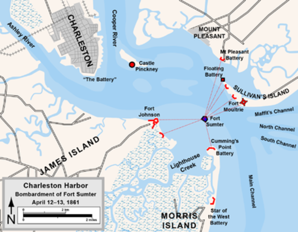 Confederate Forces shell Fort Sumter in Charleston Harbor - The Civil War Begins