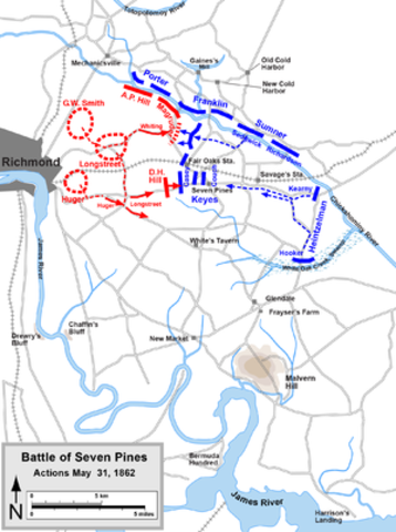 The Battle of Seven Pines/Fair Oaks - McClellen is defeated, Robert E. Lee assumes command of the Confederate States Army of Northern Virginia