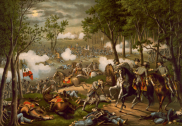 """Battle of Chancellorsville - Slaughter of Union Troops, Death of Thomas """"Stonewall"""" Jackson."""