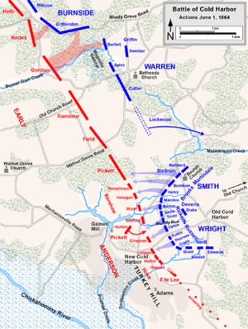 """Battle of Cold Harbor - Grant presses the attack against Lee, to """"grind it out"""" and reduce Lee's capabilities by attrition"""