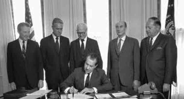 President Nixon signs Congressional legislation