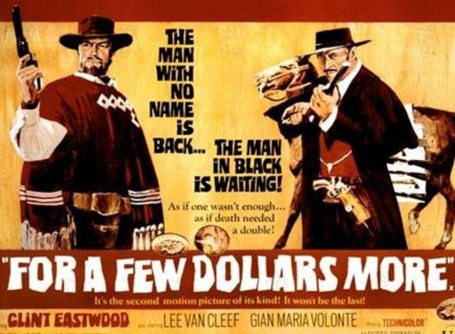 """Sergio Leone diretto """"For a Few More Dollars"""", """"Per qualche dollaro in più'."""