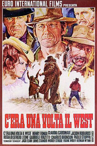 """Sergio Leone diretto """"Once Upon a Time in the West"""", """"C'era una volta il West""""."""