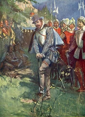 Sir Humphrey Gilbert Claims Newfoundland (Canada) for England.