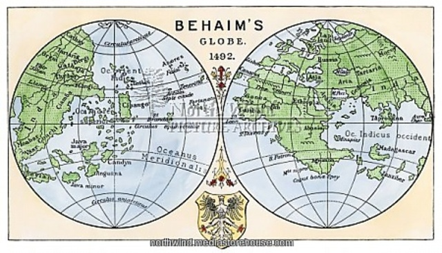 Martin Behaim makes the earliest globe of the world. It showed no New World.