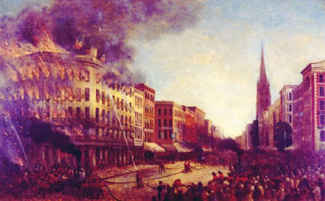 The American Museum brandt volledig af