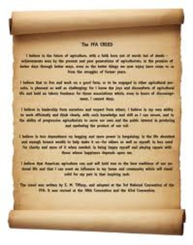 The official FFA creed was written
