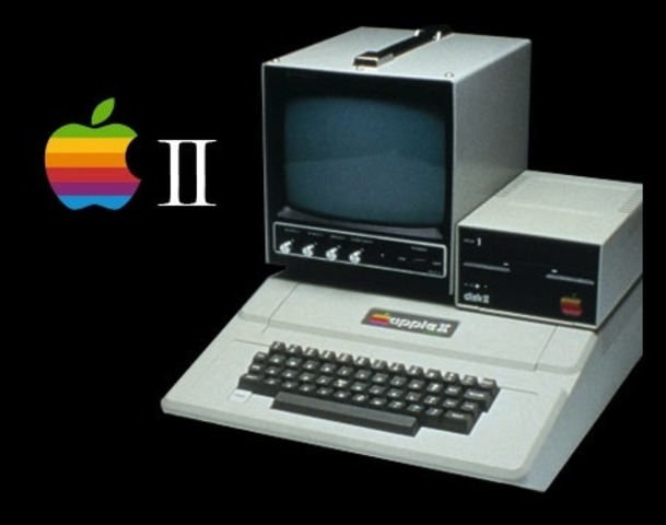 Apple Computer's Apple II, the first personal computer with color graphics, is demonstrated