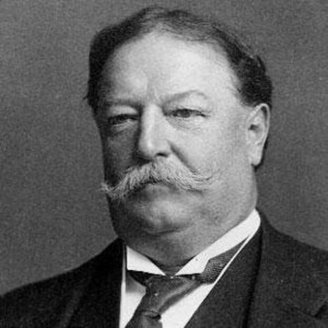 Porfirio Díaz se entrevista con William H. Taft.