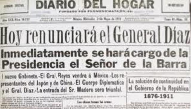 Porfirio Díaz renuncia a la presidencia de México