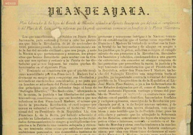 Emiliano Zapata proclama el plan de Ayala